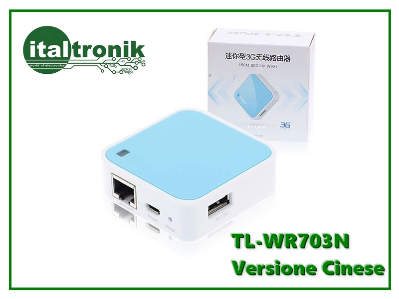 3G WiFi 150Mbps Router wireless portatile TP-LINK TL WR703N Fw. 1.7 Vers. Cinese