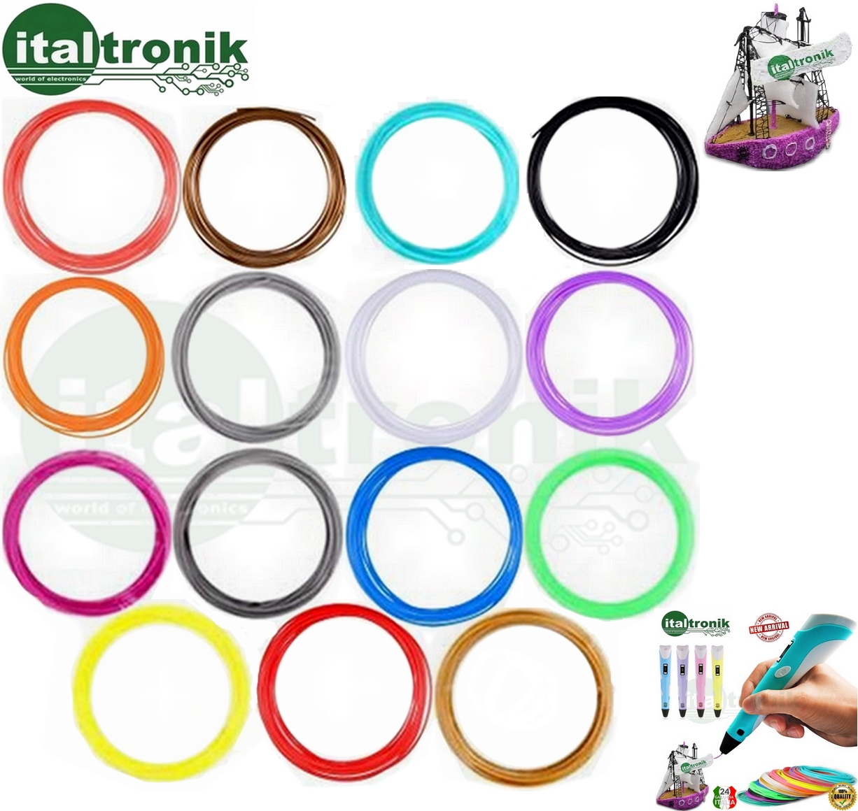 SET FILAMENTI PER PENNA STEREOSCOPICA 3D KIT 15 COLORI DA 10MT PLA 1.75MM  150mt