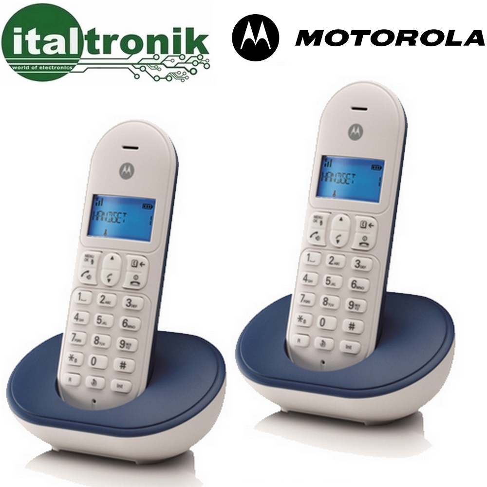 TELEFONO CORDLESS DIGITALE MOTOROLA T101 DUO DECT GAP DISPLAY RETROILLUMINATO