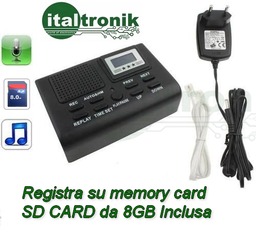 Registratore Telefonico Automatico Digitale su scheda SD 8GB inclusa
