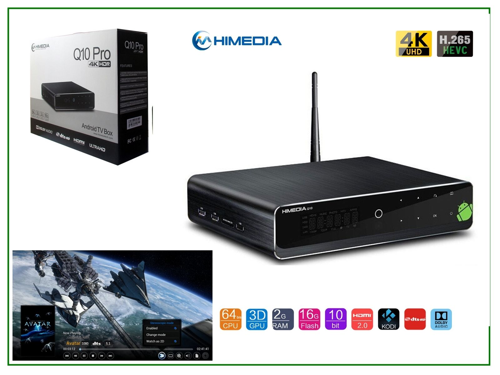 Himedia Q10 Pro 4k (Ultra HD) 3D Media Player Android Smart TV Box/Mini PC