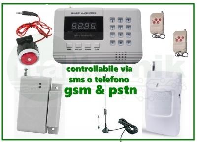 ANTIFURTO WIRELESS LCD CON COMBINATORE TELEFONICO GSM PSTN SMS Auto-Dial Alarm