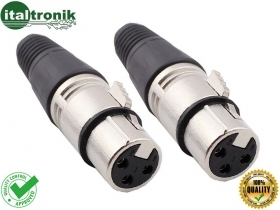 KIT DA 2 CONNETTORI XLR 3 POLI CANNON  FEMMINA VOLANTE XLR3MX