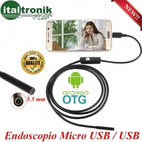 ENDOSCOPIO ANDROID E WINDOWS DA 5 METRI DIAMETRO 5.5 mm  CON 6 LED
