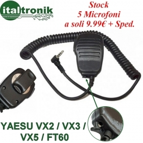 KIT 5 MICROFONO SPEAKER PER PORTATILI YAESU VX2 VX3 VX5 VX110 FT60 COMPATIBILE