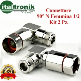CONNETTORE 90° 1/2 N-FEMMINA  KIT 2 PZ